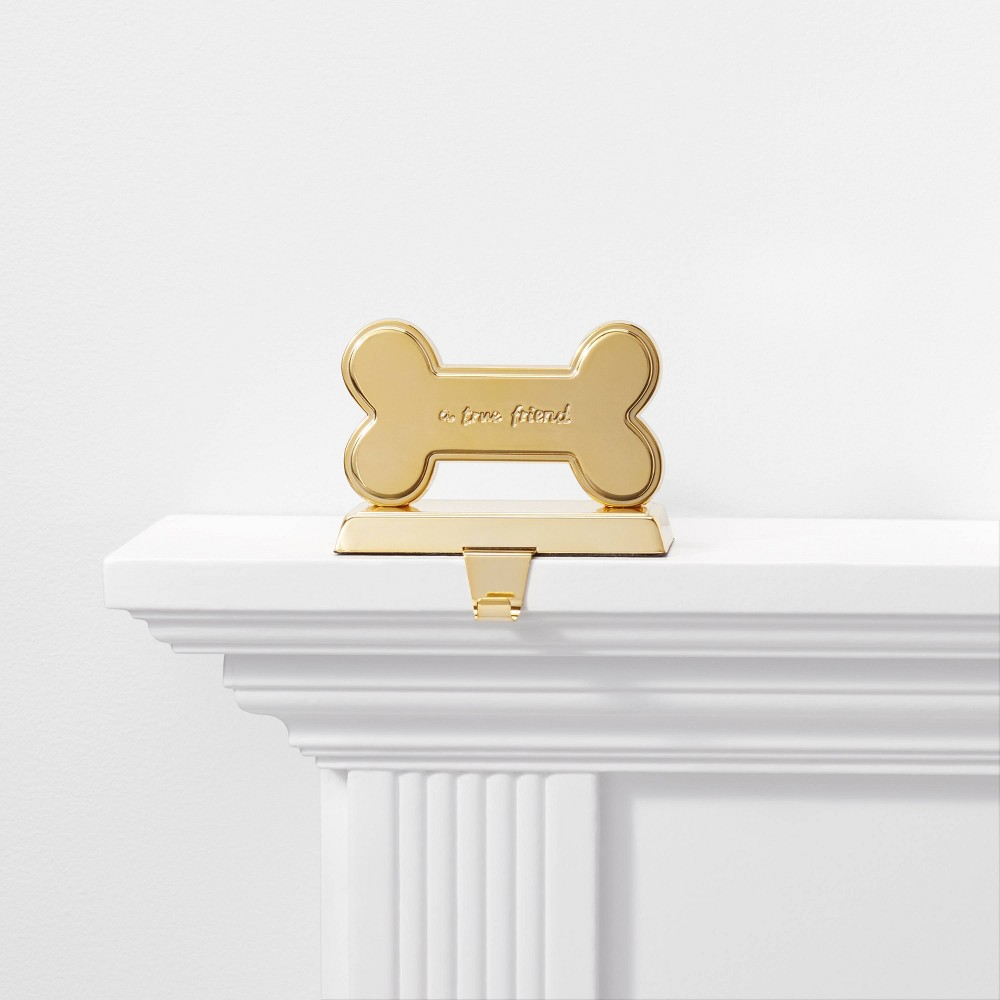 Image of 1ct Dog Bone A True Friend Christmas Stocking Holder Gold - Wondershop