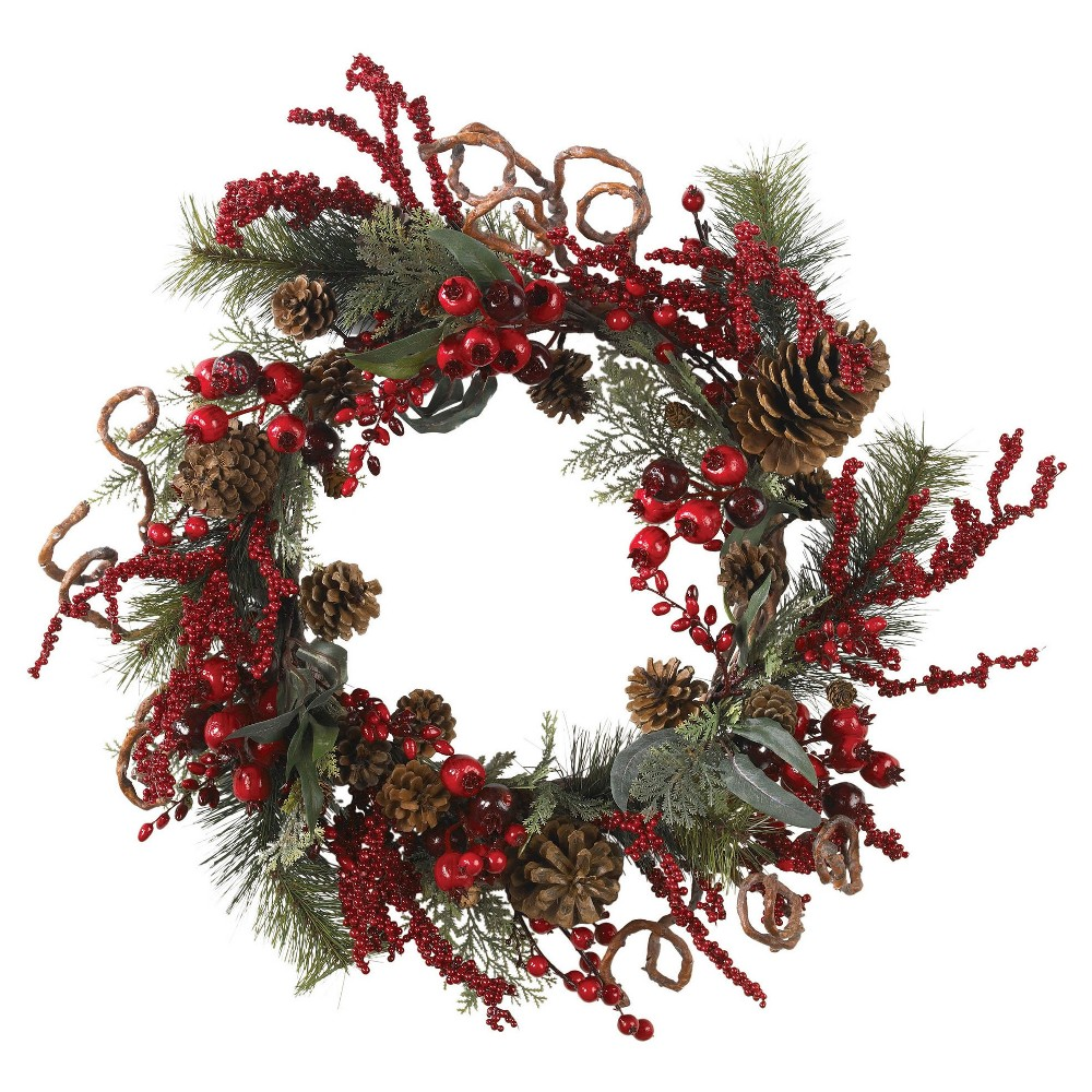 Image of 24 Assorted Berry Wreath - Nearly Natural, Green