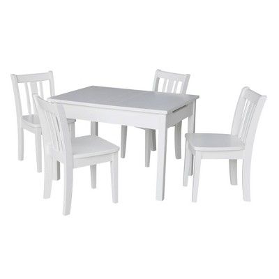 Kids' Storage Table with 4 San Remo Juvenile Chairs White - International Concepts