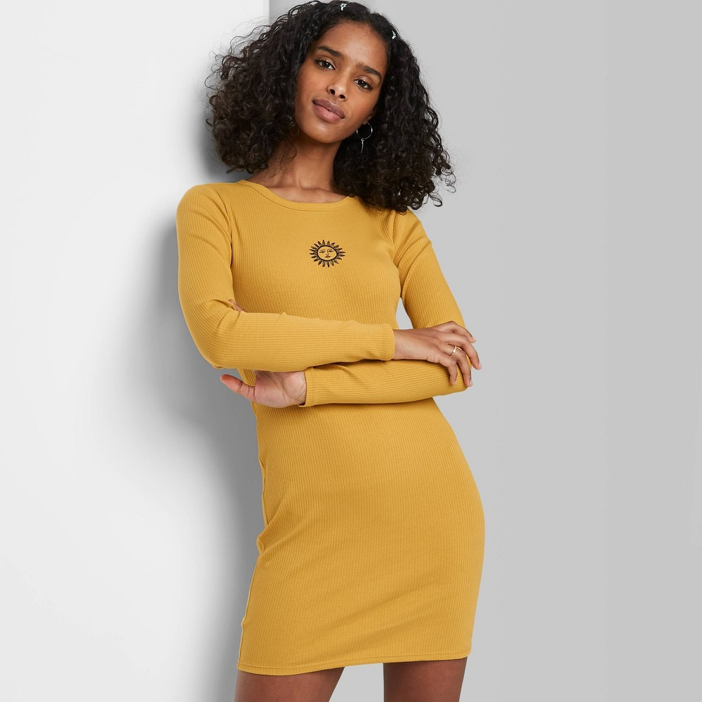 Women 39 S Long Sleeve Bodycon With Embroidery Dress Wild Fable 8482 Yellow Xl