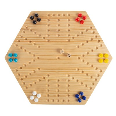 Classic Wooden Strategic Thinking Game-Complete Set with Board, 24 Colored Marbles, 2 Dice-Fun Vintage 6-Player Game For Kids and Adults by Toy Time