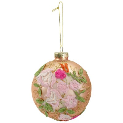 "Northlight 2-Finish Pink Floral Applique Glass Christmas Ball Ornament 4"" (100mm)"