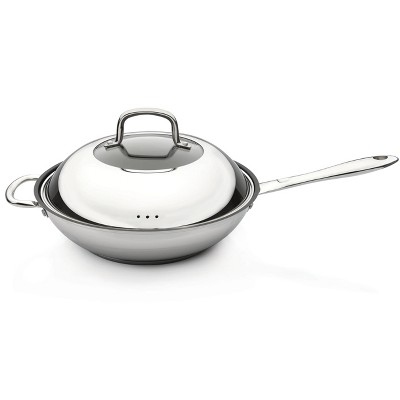 "BergHOFF CollectNCook 11"" 18/10 Stainless Steel Non-Stick Covered Wok"