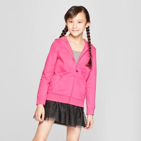 Girls' Zip-Up Hoodie - Cat & Jack™ Pink L - image 1 of 3