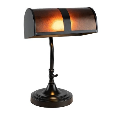 Bankers Lamp with Amber Mica Shade (Includes LED Light Bulb)
