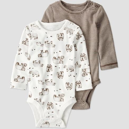 Baby Boys' 2pk Organic Cotton Bear Bodysuit - little planet by carter's White/Brown - image 1 of 2