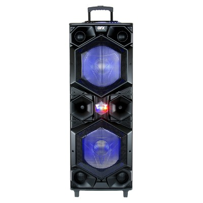 QFX E-1500 Portable Bluetooth High Power PA Speaker System with (2) 15 Inch Woofers, LED Party Lights and Microphone Inputs, Black