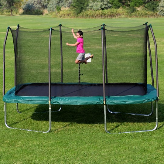 Skywalker Rectangle Trampoline with Enclosure - Green (14') image number null