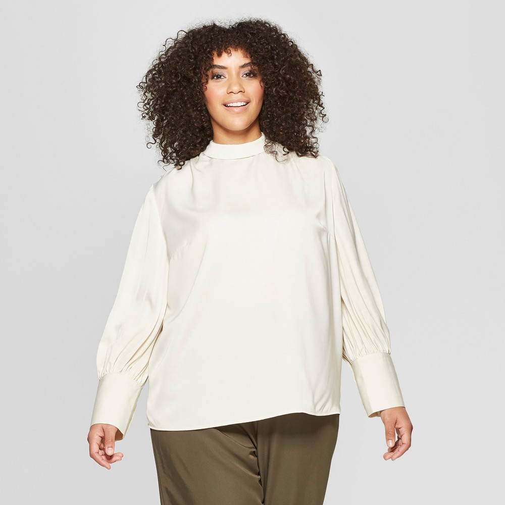 Women's Plus Size Long Sleeve Relaxed Silky Blouse - Who What Wear Cream (Ivory) 3X