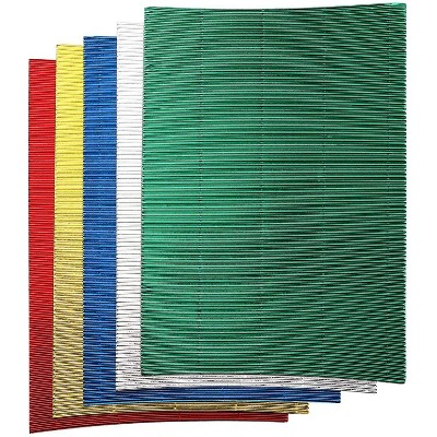 Bright Creations 30-Pack Metallic Corrugated Paper Sheets for Arts and Crafts, 5 Colors (8.3 x 11.7 in)