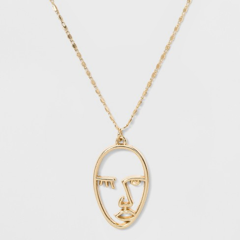 Short Delicate Wire Face Pendant Necklace - Wild Fable™ Bright Gold - image 1 of 2