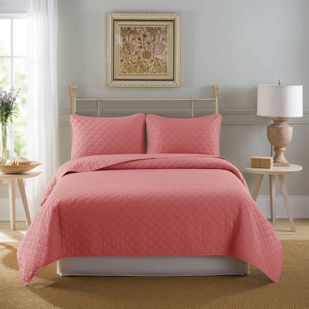 Full Queen 3pc Solid Washed Reversible Rose Quilt Set Country Living