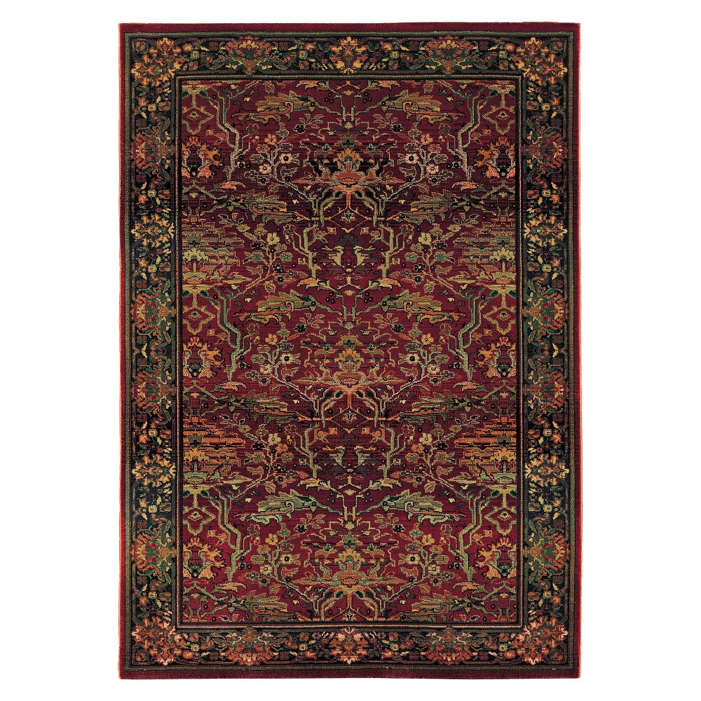 Jasmine Area Rug - Red (7'10x11'), Multi-Colored/Pink