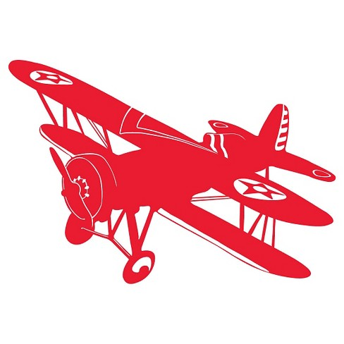 Biplane Wall Decal - Red - image 1 of 2
