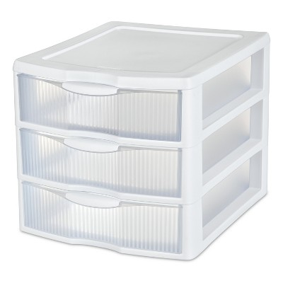 Sterilite 3 Drawer Medium Countertop Unit White with Clear Drawers - Room Essentials™