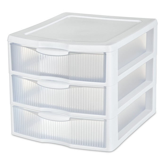 Sterilite 3 Drawer Medium Countertop Unit White with Clear Drawers - Room Essentials™ - image 1 of 5