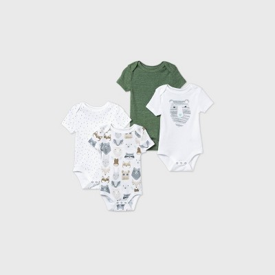Baby Boys' 4pk Little Cub Short Sleeve Bodysuit - Cloud Island™ Olive Green 0-3M