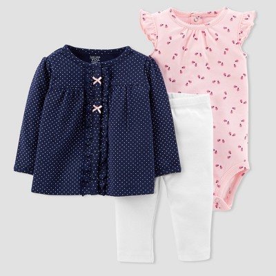 Baby Girls' 3pc Cardigan Set - Just One You® made by carter's Pink/Navy 9M
