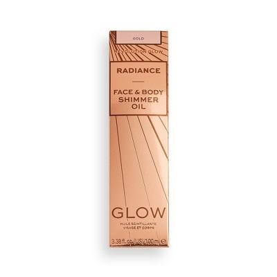Makeup Revolution Glow Radiance Face & Body Shimmer Oil - Gold - 3.38 fl oz