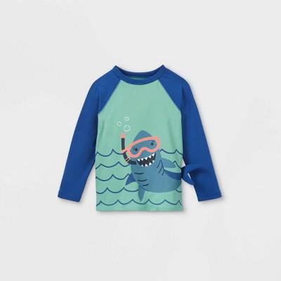 Toddler Boys' Shark Long Sleeve Graphic Rash Guard Swim Shirt - Cat & Jack™ Blue/Aqua