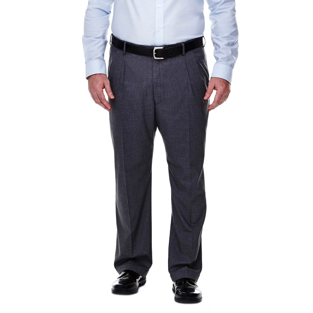 Haggar H26 - Men's Big & Tall Classic Fit Stretch Suit Pants Medium Gray 52x30, Mid Grey