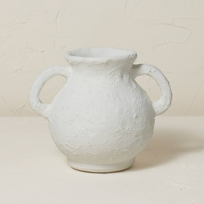 """7"""" x 8.5"""" Terracotta Vase with Handle Chalk White - Opalhouse™ designed with Jungalow™"""