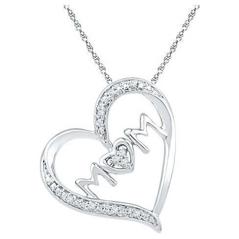 Diamond Accent Round White Diamond Prong Set Mom in Heart Pendant in Sterling Silver - image 1 of 1
