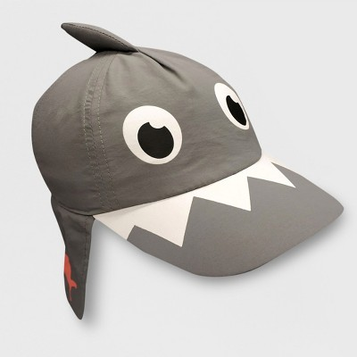 Baby Boys' Shark Baseball Hat with Neck Flap - Cat & Jack™ Gray 12-24M