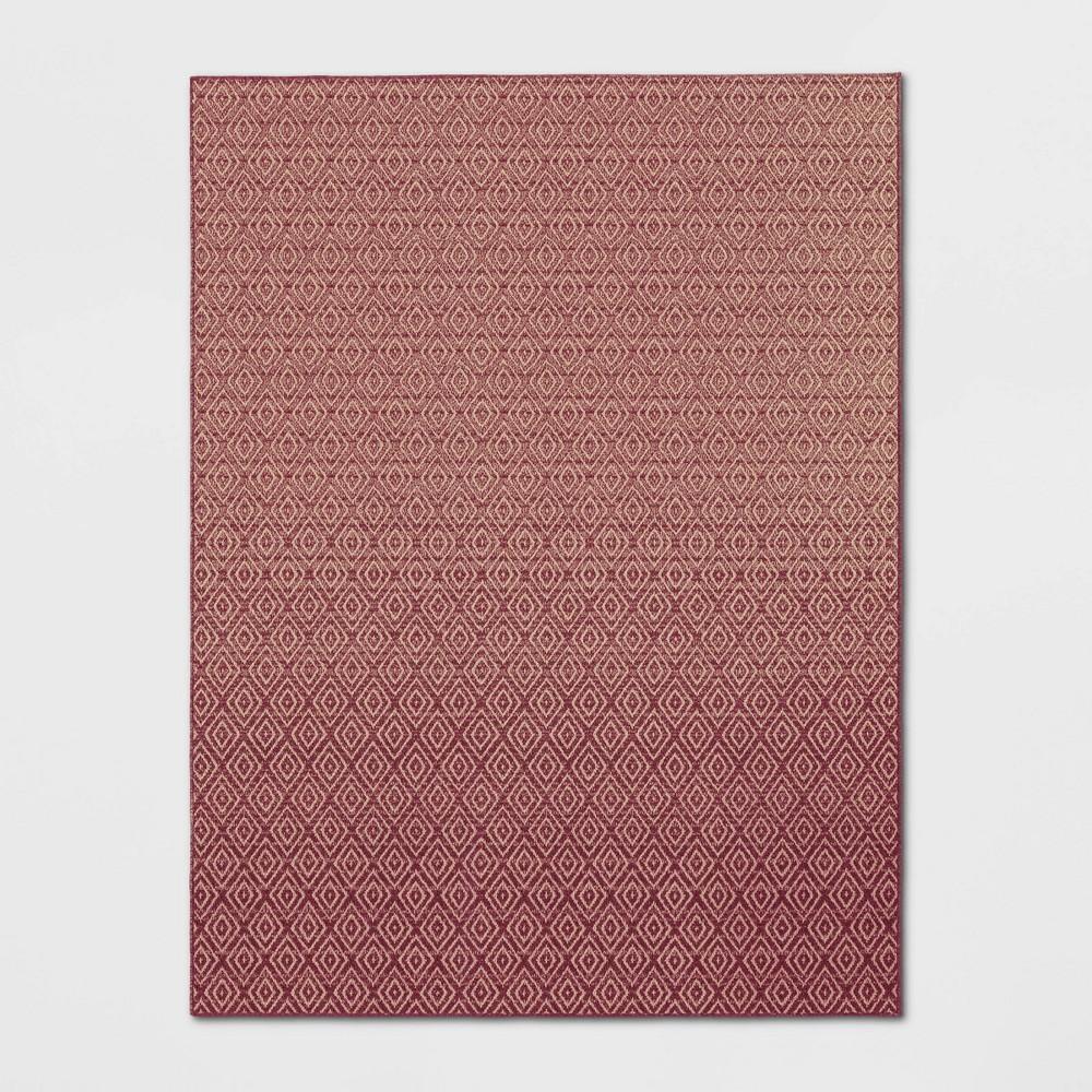 9'X12' Indoor/Outdoor Diamond Woven Area Rug Red - Threshold