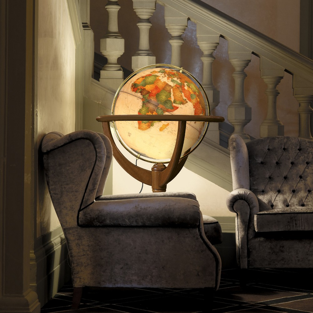 "Image of ""20"""" Geneva Illuminated World Globe Antique Ocean - Waypoint Geographic"""