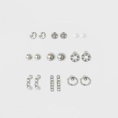 Stone Simulated Pearl Bar and Open Circle Multi Earring Set 9pc - Wild Fable™ Dark Silver