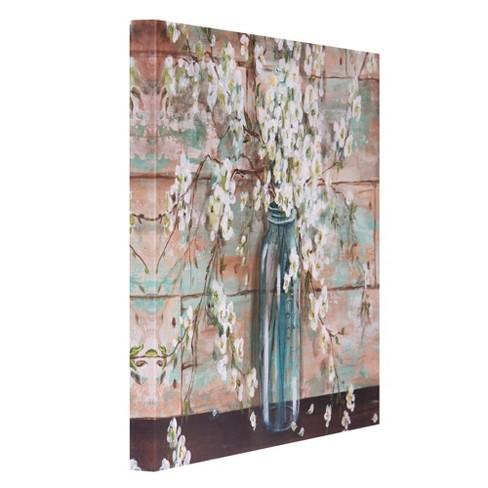 24 X36 Blooms In Mason Jar Fl Canvas Art Light Blue Patton Wall Decor Target