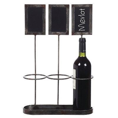 Metal Wine Bottle Holder/Chalkboard Holds with 3 Bottles (17-1/4 H)