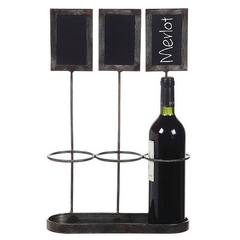 Metal Wine Bottle Holderchalkboard Holds With 3 Bottles 17 14h