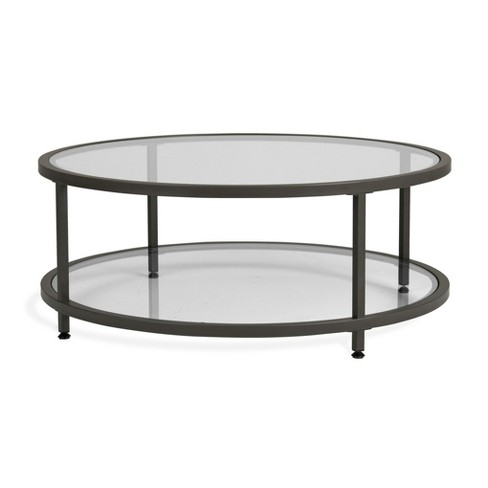 Home Camber Modern Glass Round Coffee Table 38 Quot Grey