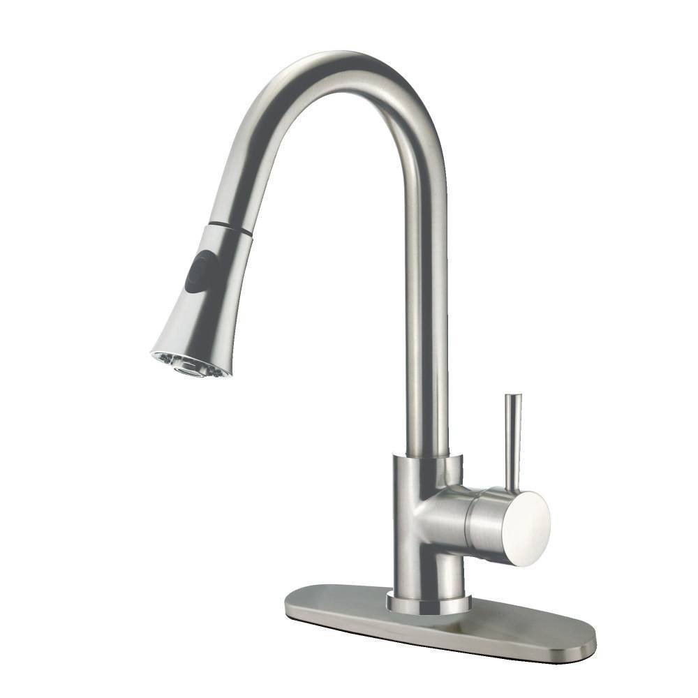 Image of Gourmetier Single Handle Faucet with Pull Down Spout Satin Nickel - Kingston Brass