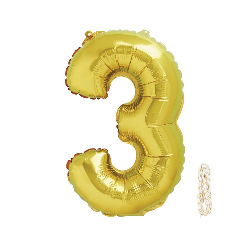 1ct 34 Number 3 Foil Balloon - Spritz