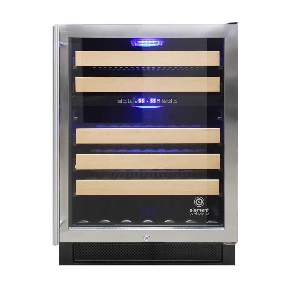 Image of Vinotemp International Connoisseur Series 46 Dual Zone Wine Cooler, Silver