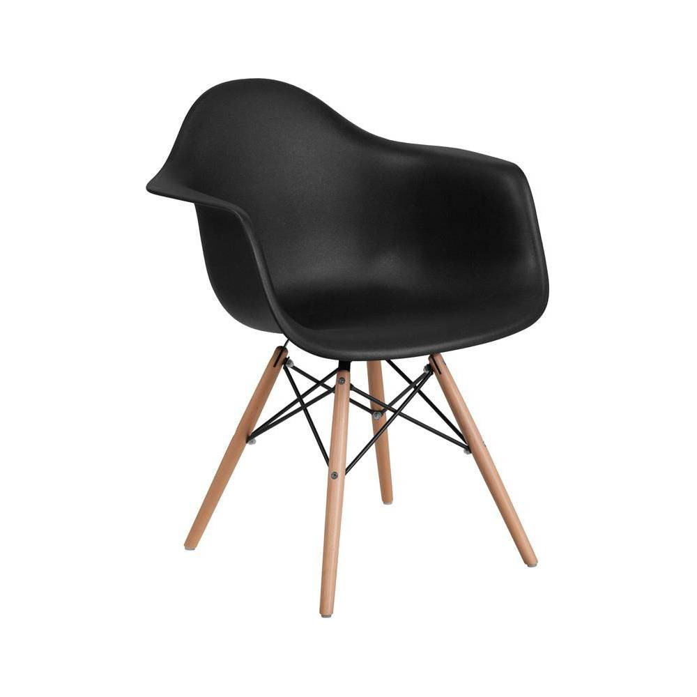 Image of Alonza Series Plastic Chair with Arms and Wooden Legs Black - Riverstone Furniture Collection