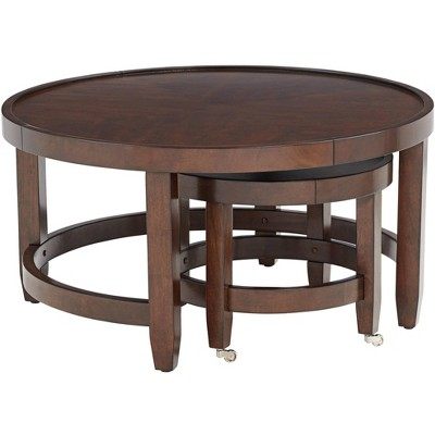 55 Downing Street Emerson Brown Wood Nesting Table Set