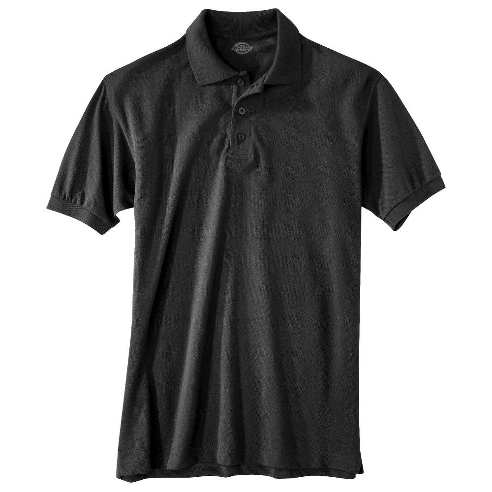 Image of Dickies Men's Pique Uniform Polo Shirt - Black S, Size: Small