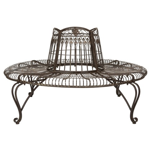 Ally Darling Wrought Iron Outdoor Tree Bench Rustic Brown