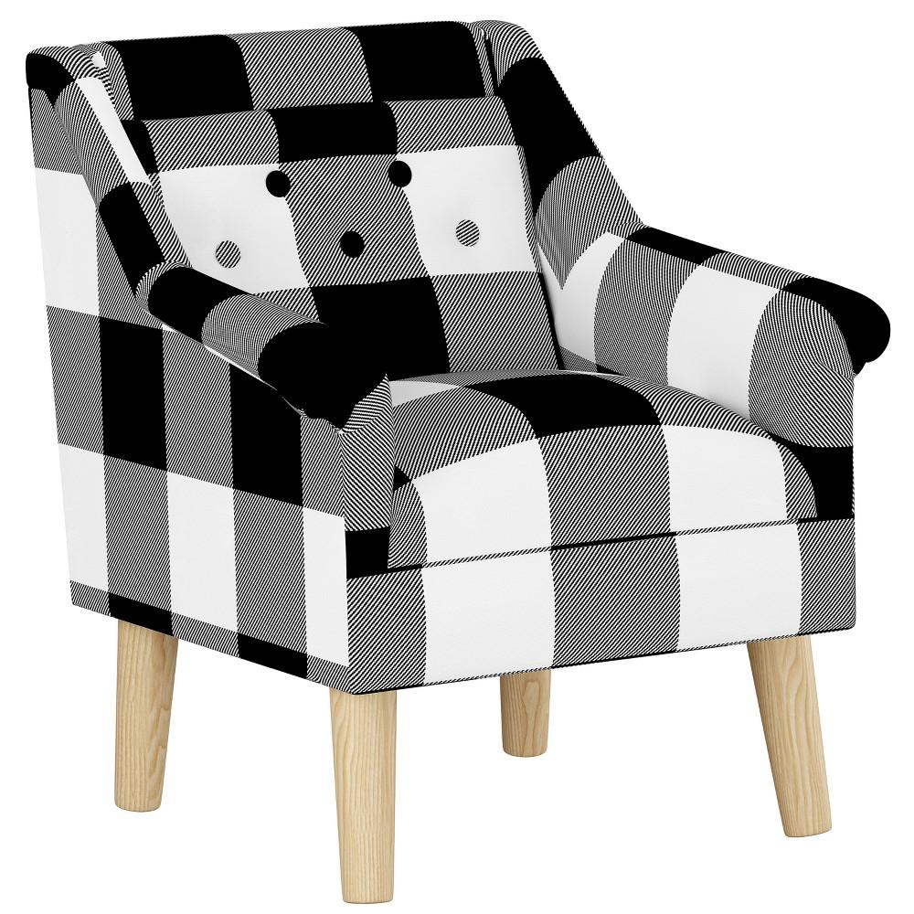 Kids Button Tufted Modern Chair Black/White Plaid with Natural Legs - Pillowfort