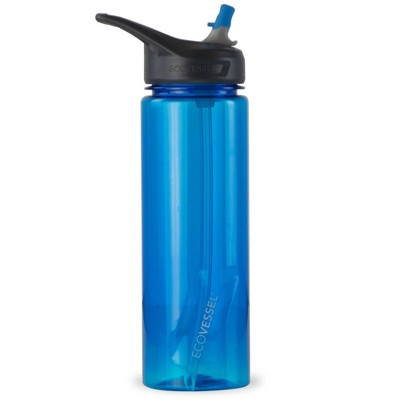EcoVessel 24oz Wave BPA-Free Tritan Plastic Water Bottle with Straw Top