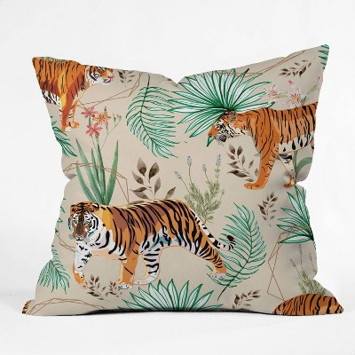 "16""x16"" 83 Oranges Tropical and Tigers Throw Pillow Orange - Deny Designs"