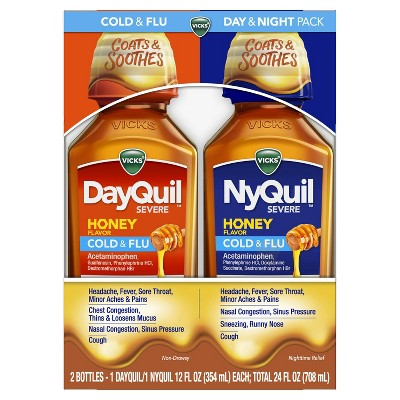 Vicks DayQuil NyQuil Severe Cold & Flu Honey Combo - 2pk/24 fl oz