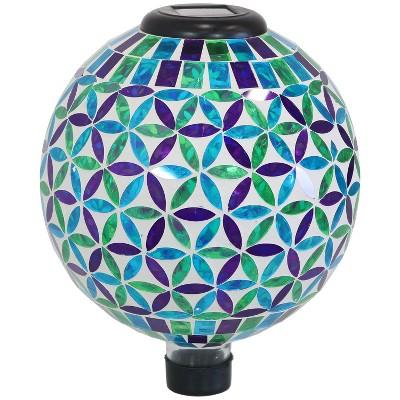 """Cool Blooms Mosaic Outdoor 10"""" Gazing Globe - Blue/Green - Sunnydaze Decor"""