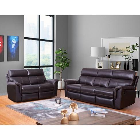 2pc Maxwell Top Grain Leather Reclining Sofa & Loveseat Set Brown - Abbyson  Living
