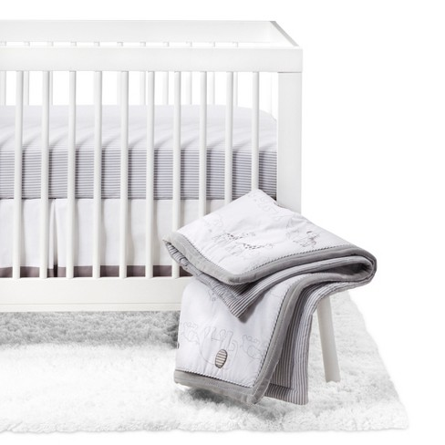 Crib Bedding Set Two by Two 4pc - Cloud Island™ Gray - image 1 of 4