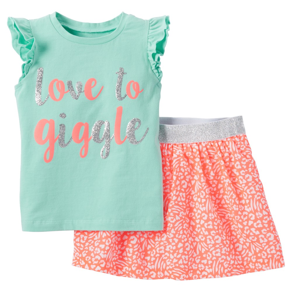 Just One You Made by Carter's Toddler Girls' Love To Giggle 2pc Skort Set - Mint (Green) Air 6X